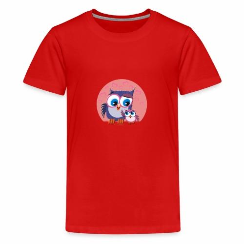 10-31 OWLS LOVE - PÖLLÖT, Äiti ja lapsipöllö - Teinien premium t-paita