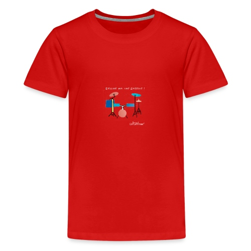 Azia Drum White - Teenage Premium T-Shirt