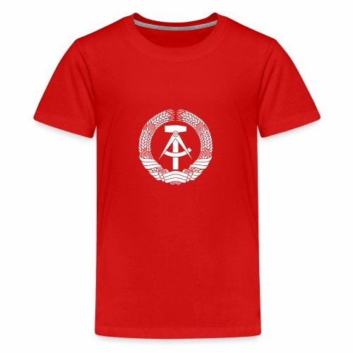 DDR Coat of Arms (white) - Teenage Premium T-Shirt