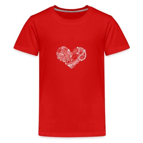 White Leaf Heart Mandala - Teenage Premium T-Shirt