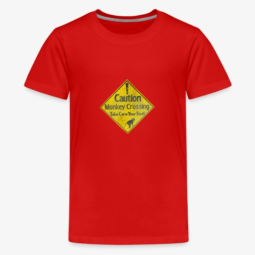 Caution Monkey Crossing - Teenager Premium T-Shirt