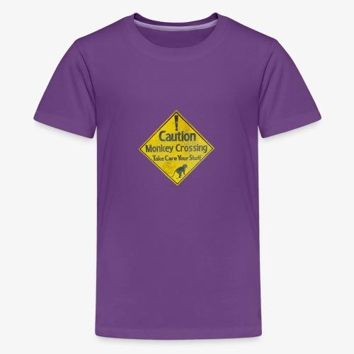 Caution Monkey Crossing - Teenager Premium T-Shirt