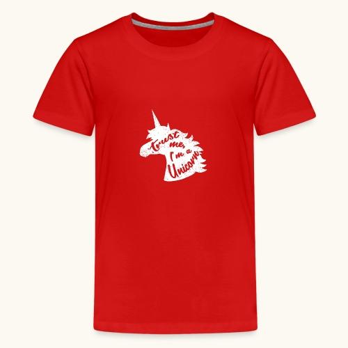 Cadeau de licorne rigolo disant calligraphie blanche - T-shirt Premium Ado