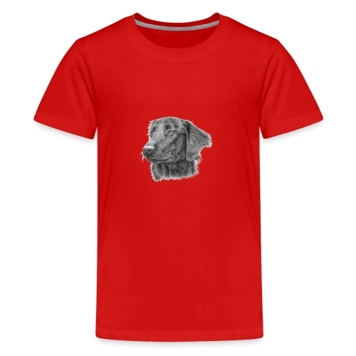 flatcoated retriever bw - Teenager premium T-shirt