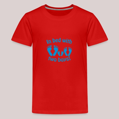 In bed with two boys - Im Bett mit zwei Jungs - Teenager Premium T-Shirt
