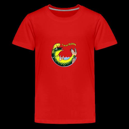 10-39 LADY FISH HOLIDAY - Haukileidi lomailee - Teinien premium t-paita
