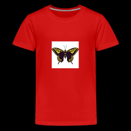 Black & Yellow Butterfly - Teenage Premium T-Shirt