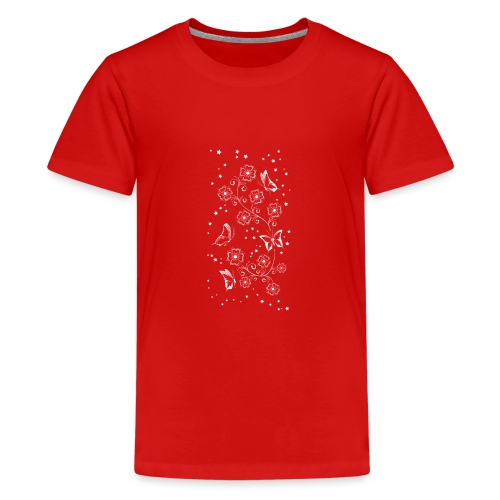 Floral and Butterflys_5_Shirt_Weiss - Teenager Premium T-Shirt