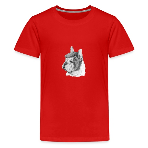French Bulldog w/beret - Teenager premium T-shirt