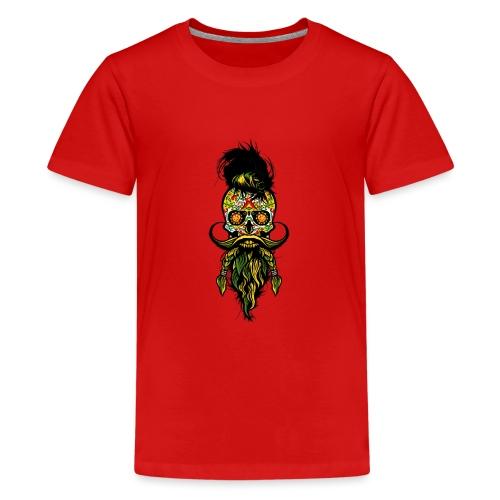 tete de mort mexicaine hipster barbu barbe moustac - T-shirt Premium Ado