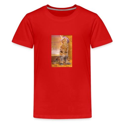 gatto_con_gli_stivali_-_su_foglio_da_disegno_-_pit - Maglietta Premium per ragazzi