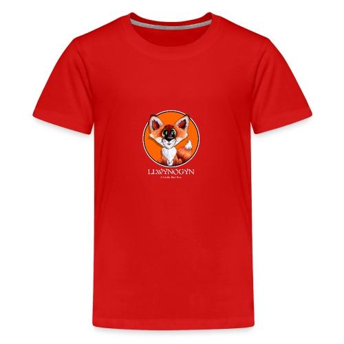 llwynogyn - a little red fox (white) - Teinien premium t-paita