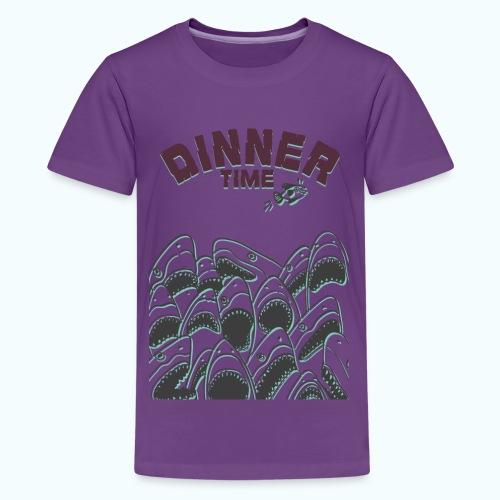 Dinner Time Funny Retro 90s Shark Shirt - Teenage Premium T-Shirt