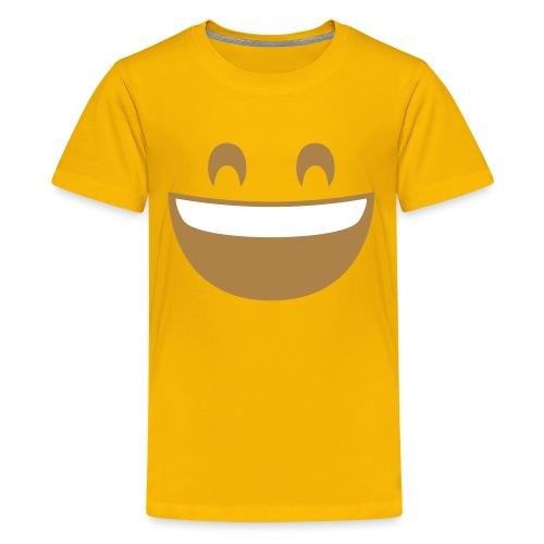 Emoji grinning face with smiling eyes print - Teenage Premium T-Shirt