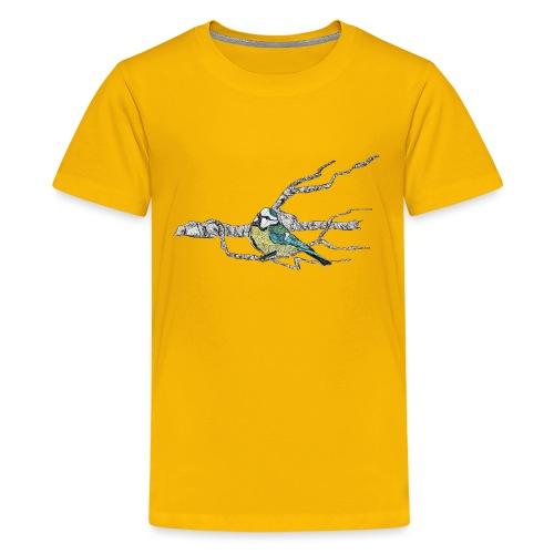 Blaumeise auf Ast - Teenager Premium T-Shirt