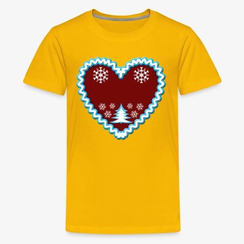 Lebkuchenherz Dein Text Frohe Weihnachten 01 - Teenager Premium T-Shirt
