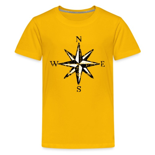 Windrose Segel Segeln Segler Vintage Schwarz-Weiß - Teenager Premium T-Shirt
