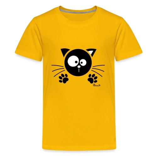 Chat noir Rigolo Drôle Humour Chaton Cat Mignon - T-shirt Premium Ado