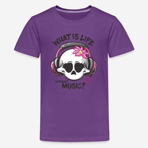 Musik ist Lebensschädel - Teenager Premium T-Shirt
