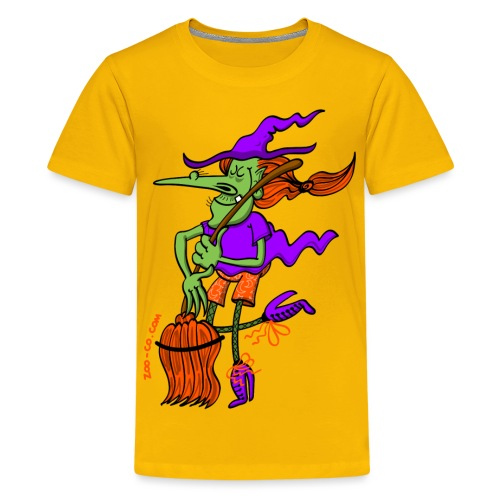 Crazy Witch Dancing with her Broomstick - Teenage Premium T-Shirt
