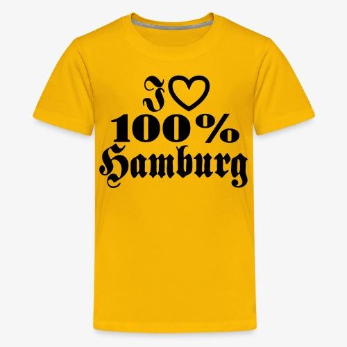 I love 100% Hamburg 1c / Herz - Teenager Premium T-Shirt
