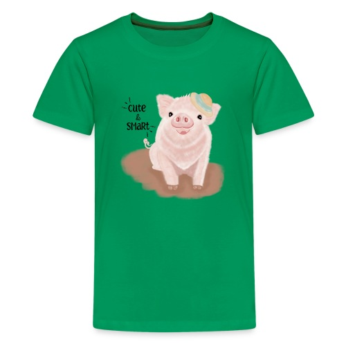 Cute & Smart Pig - Teenage Premium T-Shirt