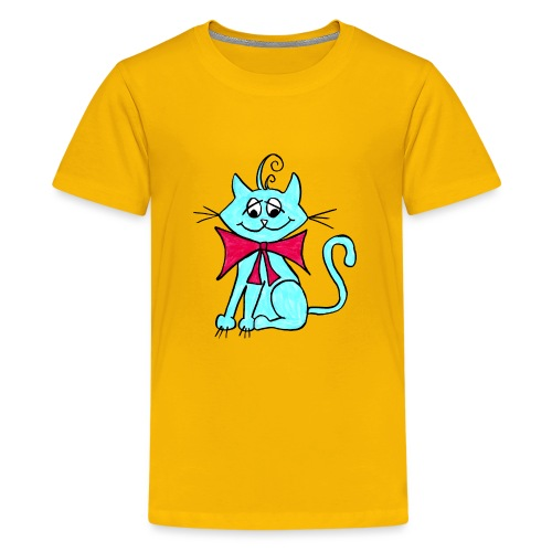 Katze blau - Teenager Premium T-Shirt