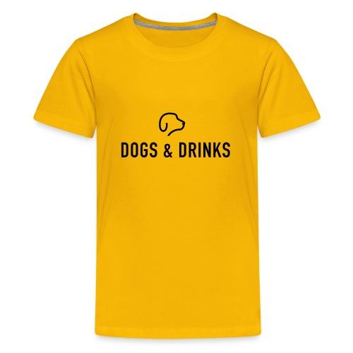 logo dogs and drinks zwart lettertype - T-shirt Premium Ado