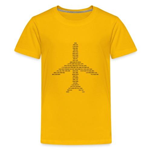IATA-koodit lentokone - musta - Teinien premium t-paita