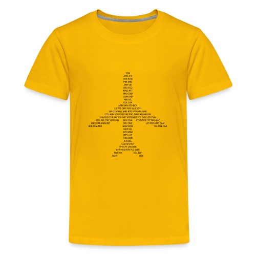 Kody IATA samolot - czarny - Koszulka młodzieżowa Premium