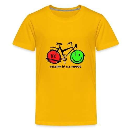 Cycling in all Moods - Trippers Textiles and Gifts - Teinien premium t-paita