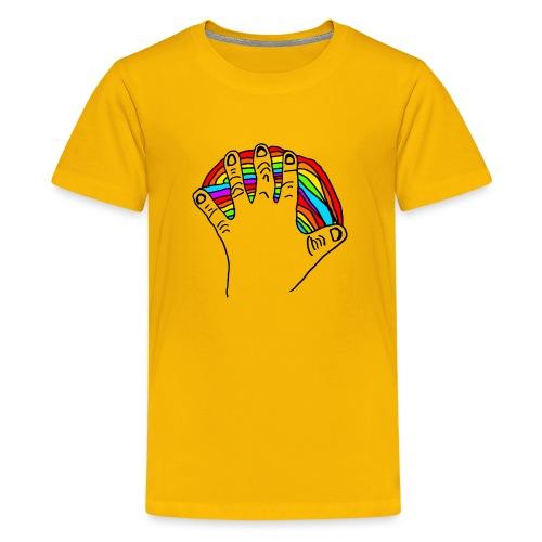Anna's rainbow hand for peace - Premium T-skjorte for tenåringer