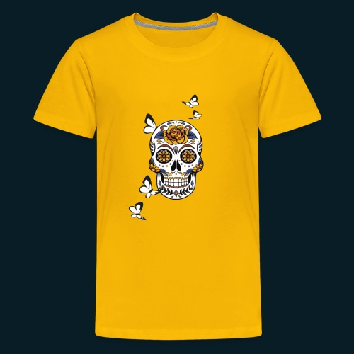 Totenkopf mit Schmetterlingen - Teenager Premium T-Shirt