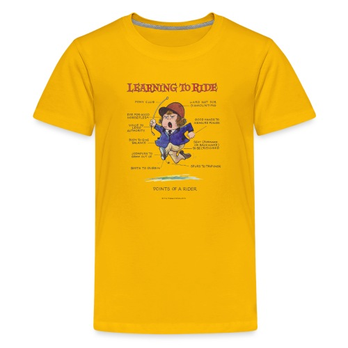 Thelwell Cartoon Learning to ride - Teenager Premium T-Shirt