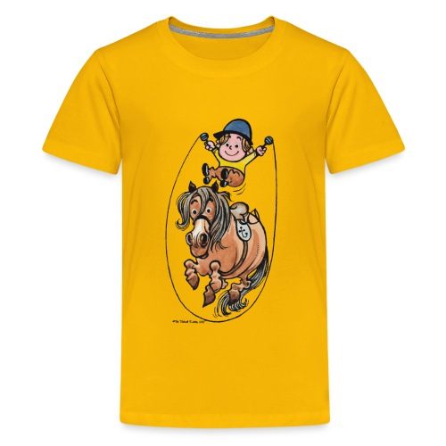 Thelwell Funny Rope Jumping Horse And Rider - Teenage Premium T-Shirt