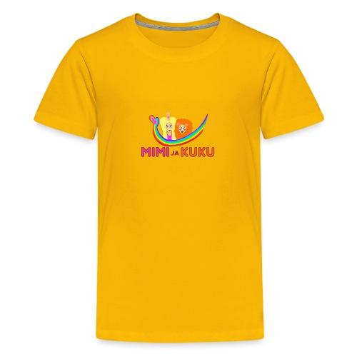 Mimi ja Kuku- sateenkaarilogolla - Teinien premium t-paita