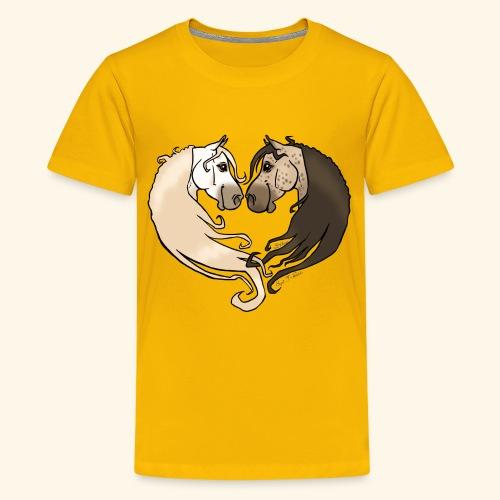 Chevaux amoureux gris-gris - T-shirt Premium Ado