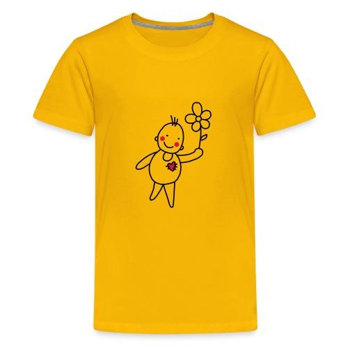 Strichmännchen Blume Herz Kinderzeichnung Graffiti - Teenage Premium T-Shirt