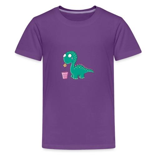 Kleiner Dinosaurier mit Blumentopf - Teenager Premium T-Shirt