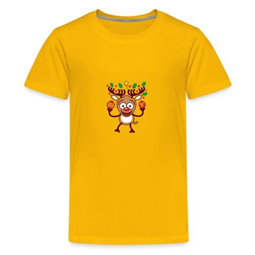 Cool Reindeer Decorating for Christmas - Teenage Premium T-Shirt