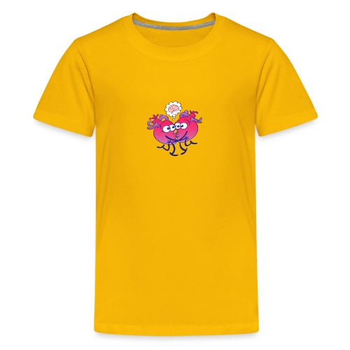 Hearts in love thinking too much when kissing - Teenage Premium T-Shirt