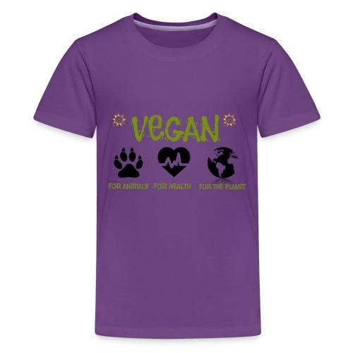 Vegan for animals, health and the environment. - Camiseta premium adolescente