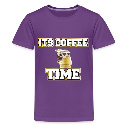 Mops im Kaffee Becher. Its Coffee Time Pug in Cup - Teenager Premium T-Shirt