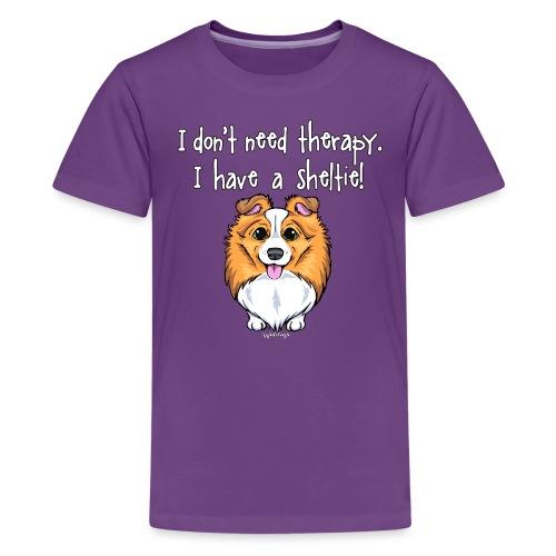 Sheltie Dog Therapy 2 - Teinien premium t-paita