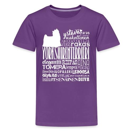 Yorkshirenterrieri Sanat V 2 - Teinien premium t-paita