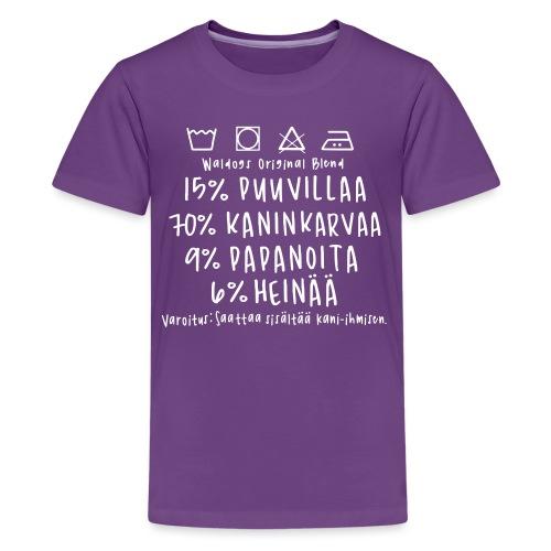 Kanin Omistajan Paita - Teinien premium t-paita