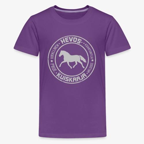 Hevoskuiskaaja Harmaa - Teinien premium t-paita