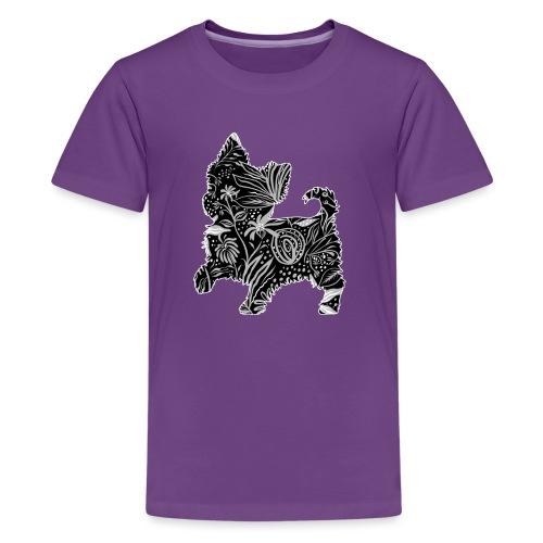 Flower Yorkie III - Teinien premium t-paita