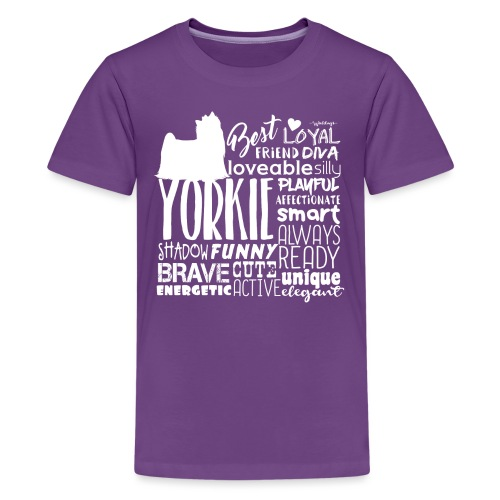 Yorkshire Terrier Words W - Teinien premium t-paita