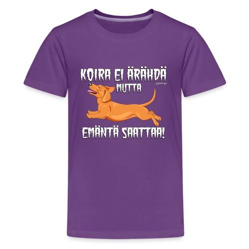 Mäyräkoira LK Emäntä 5 - Teinien premium t-paita